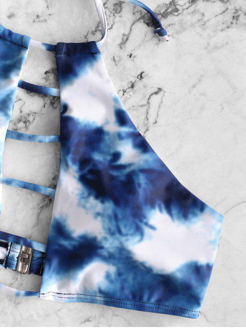 trendy ZAFUL Tie Dye Ladder Cutout Halter Tankini Swimsuit - SILK BLUE M Mobile