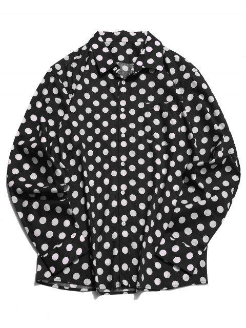 Chemise Boutonnée à Pois Imprimé à Manches Longues - Noir XL Mobile