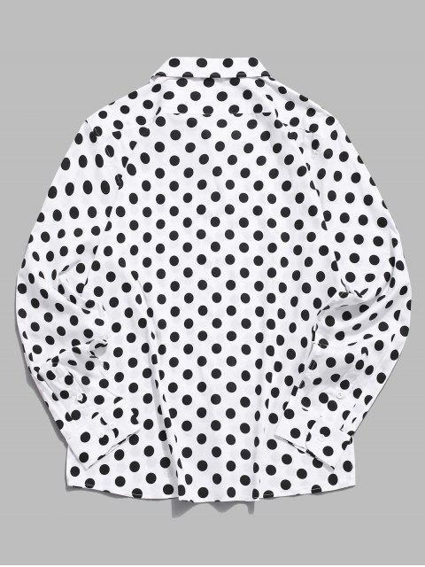Chemise Boutonnée à Pois Imprimé à Manches Longues - Blanc XL Mobile