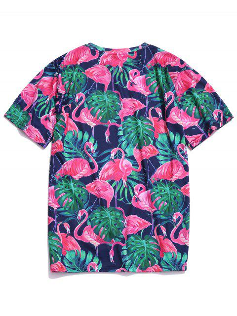 Camiseta con estampado de flamencos de plantas tropicales de Hawaii - Multicolor 2XL Mobile