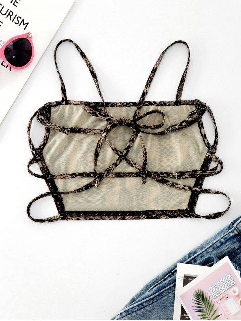 affordable ZAFUL Strappy Open Back Dalmatians Snake Print Cami Top - MULTI S Mobile