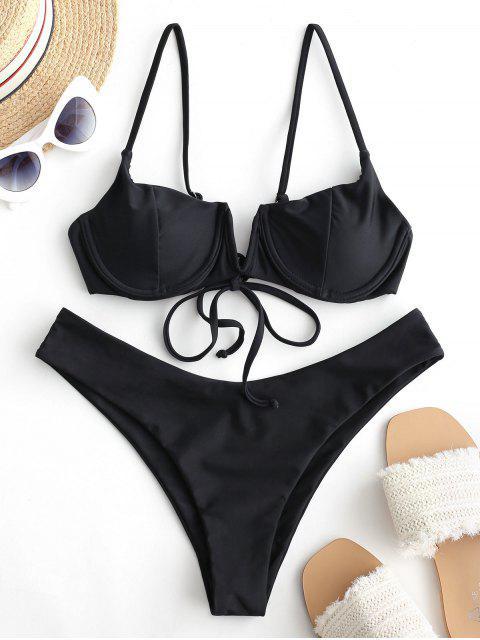 ZAFUL Maillot de Bain Bikini à Armature en V - Noir L Mobile