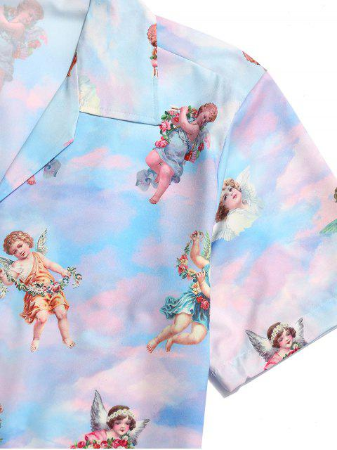 new Paradise Floral Angel Print Beach Shirt - MULTI M Mobile