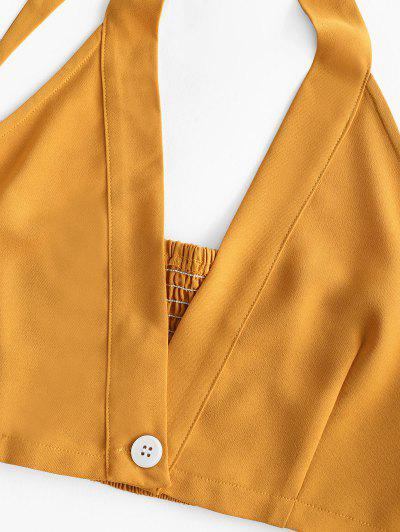 ZAFUL Smocked Halter Crop Top and Belted Shorts Set, Bee yellow
