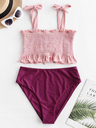 ZAFUL Tie Ruffle Lace-up Smocked Tankini Swimsuit - Maroon L