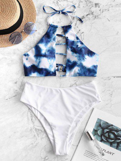 ZAFUL Tie Dye Ladder Cutout Halter Tankini Swimsuit - Silk Blue M