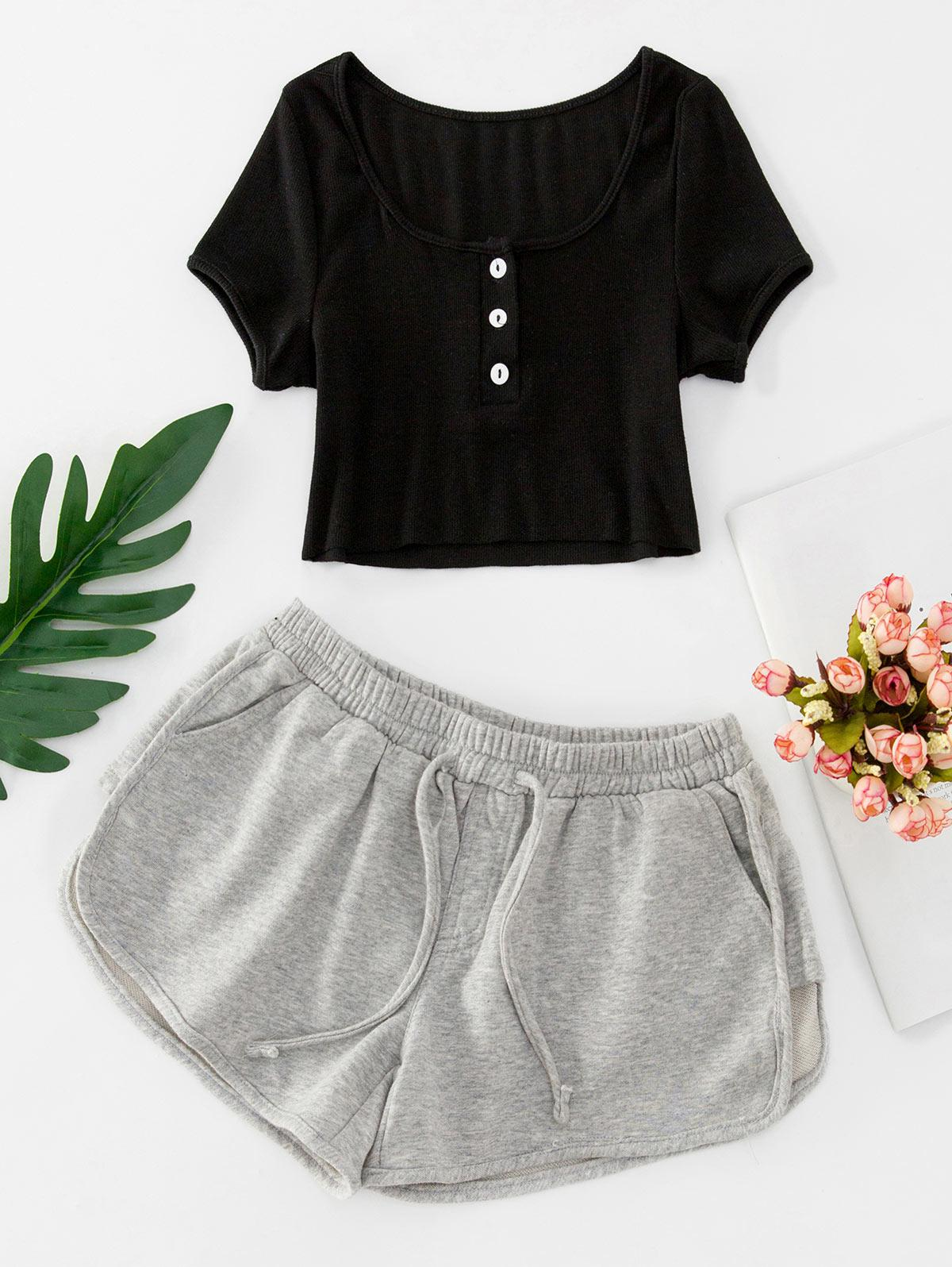 Buttoned Crop Tee and Knotted Shorts Set, Black