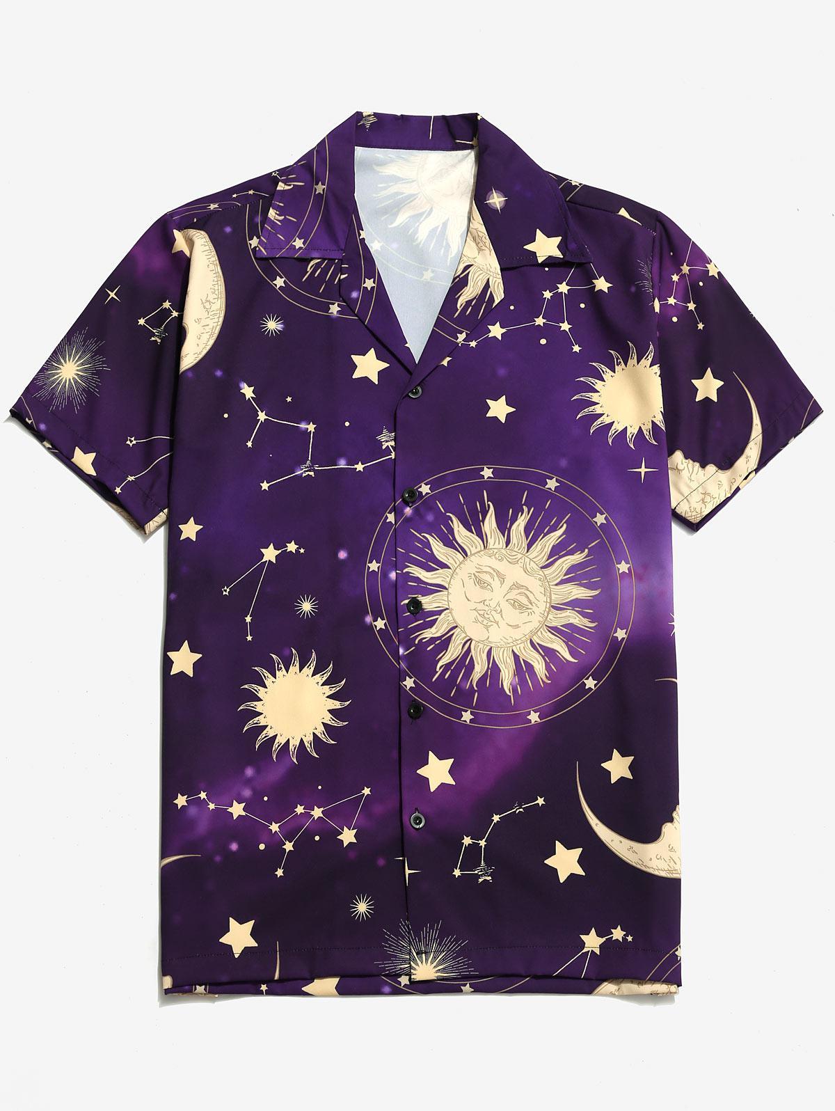 Sole, Luna e Stelle Pulsante Stampa Camicia