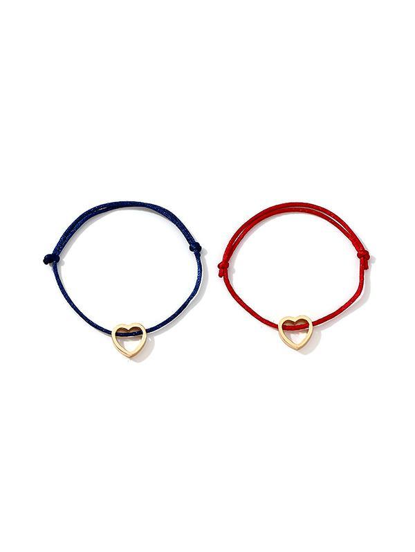 2Pcs Love Heart Couple Bracelet Set
