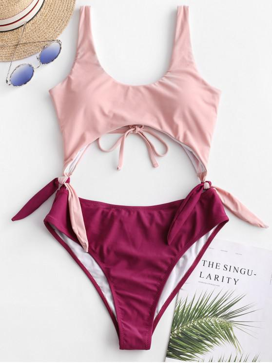 affordable ZAFUL Tie Two Tone Cutout One-piece Swimsuit - ROSE L