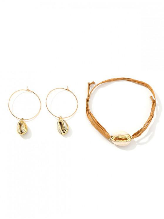 best Simple Shell Bracelet Earrings Set - GOLD