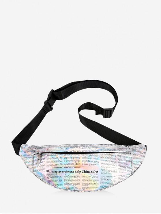 new Newspaper Print Iridescent Waist Pack - SILVER