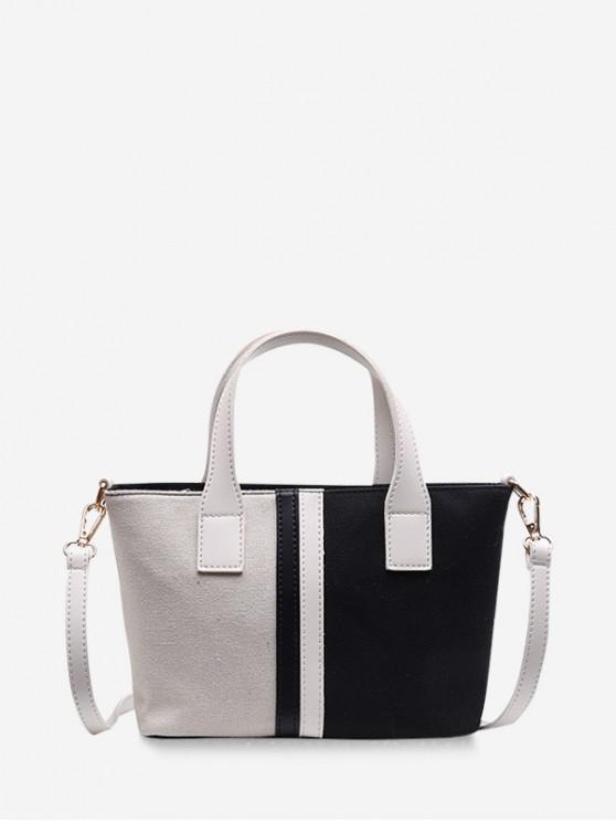 trendy Color Block Striped Tote Bag - BLACK