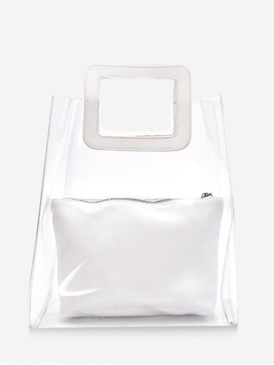 hot Transparent Square Shape Simple Handbag - WHITE