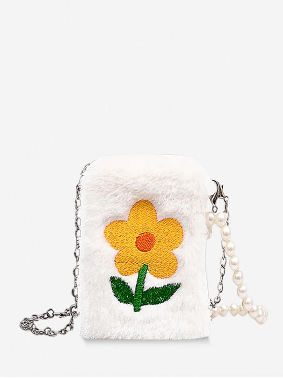 new Small Pearl Chain Fuzzy Flower Shoulder Bag - YELLOW
