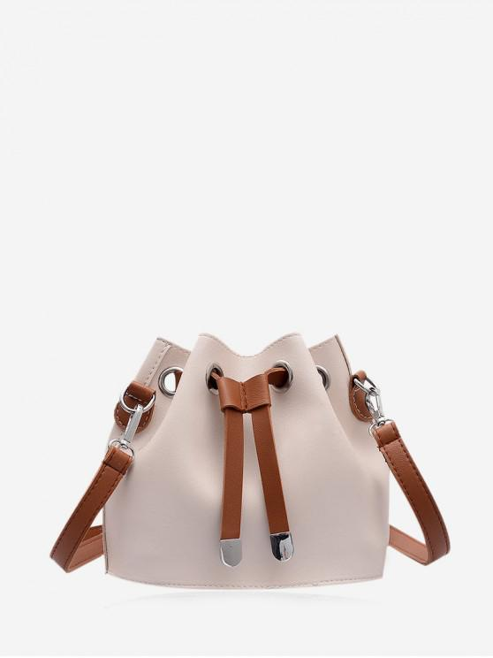 chic Solid String Leather Bucket Bag - WHITE