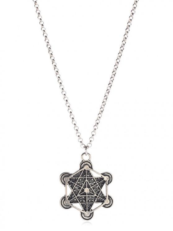 Collier Vintage Hexagramme Pendant - Argent