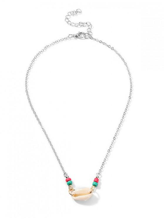sale Shell Beads Beach Brief Necklace - SILVER