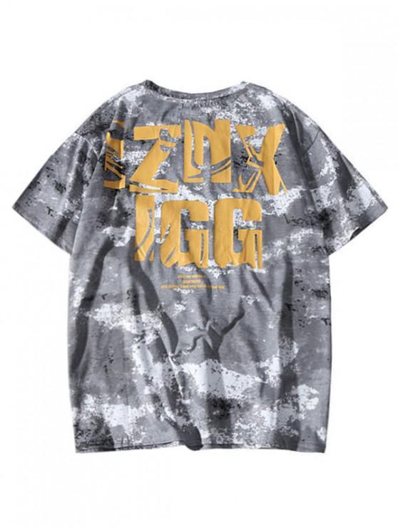 T-shirt imprimé lettres graphiques avec manches courtes - Gris 2XL