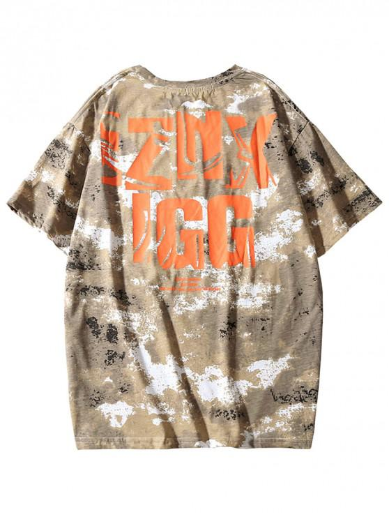 outfit Short Sleeves Letter Graphic Painting Print T-shirt - LIGHT KHAKI 2XL