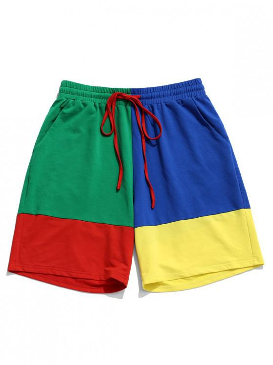 ZAFUL Short en Blocs de Couleurs Contrasté Taille à Cordon - Multi L