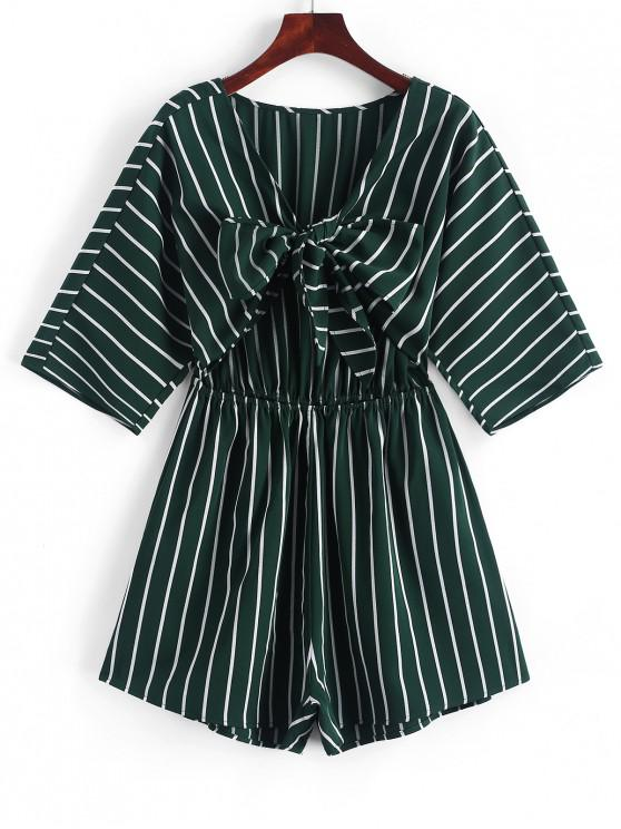 ZAFUL Tie Front Cut Out Stripes Romper - Verde Oscuro S