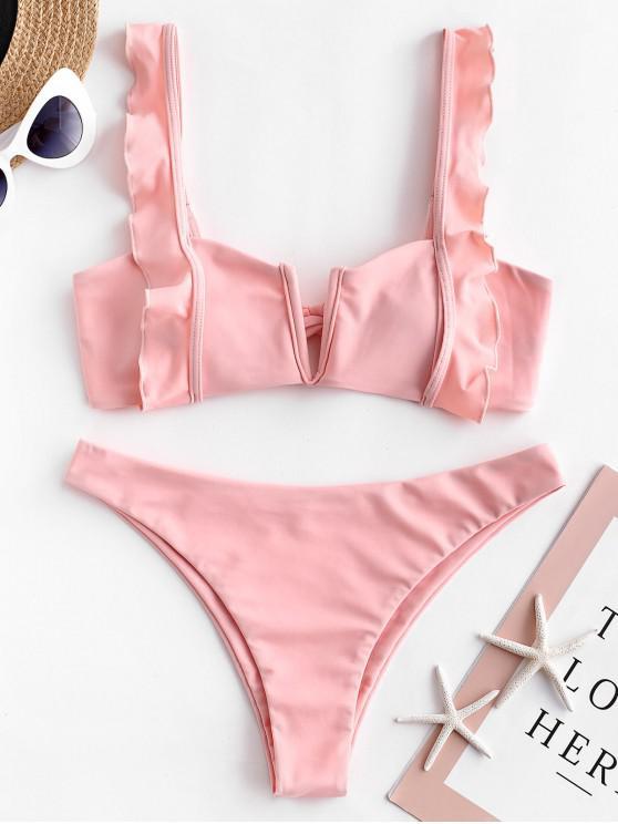 trendy ZAFUL Ruffle V Wired Tie Back Bikini Swimsuit - PINK S