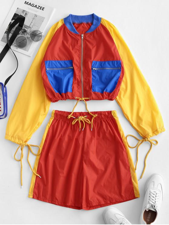 Conjunto de chaqueta y pantalones cortos de bolsillo con cierre de cremallera de color con cordón - Multicolor-A L