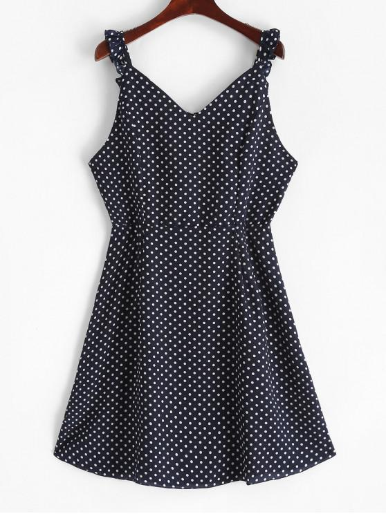 latest Ruffled Straps Dots A Line Mini Dress - BLUE M