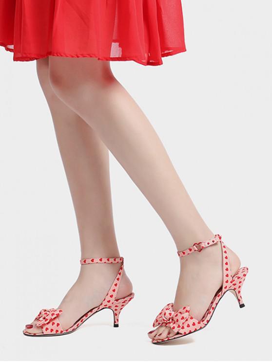 buy Bowknot Love Heart Print Sandals - PINK EU 38