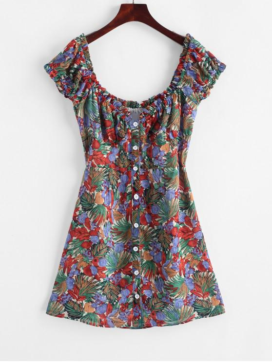 affordable ZAFUL Button Up Floral Milkmaid Mini Dress - MULTI S