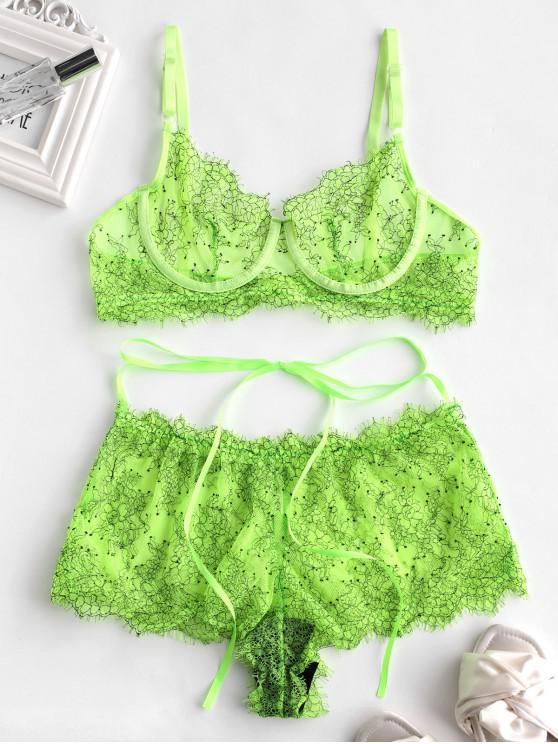 Conjunto de lencería con tirantes de encaje con aros - Verde Amarillo XL