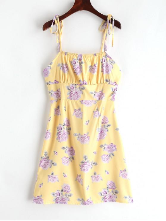 latest Tied Straps Floral Cami Mini Dress - YELLOW M