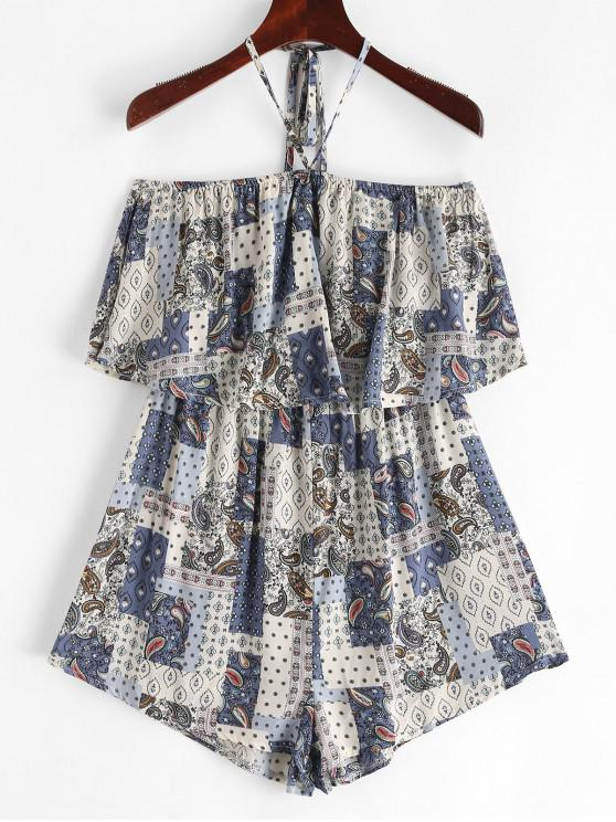 affordable Halter Paisley Printed Overlay Romper - MULTI-A XL