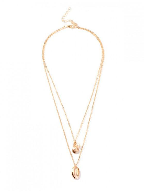 online Shell Shape Pendant Layered Necklace - GOLD