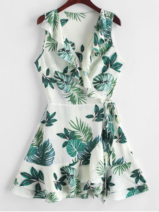 womens ZAFUL Leaf Print V Neck Ruffle Wrap Dress - MULTI S