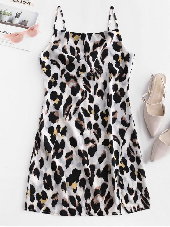 ladies Leopard Print Slit A Line Cami Dress - MULTI-A L