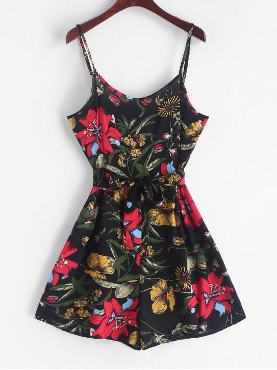 fashion Belted Floral Print Wide Leg Cami Romper - BLACK L