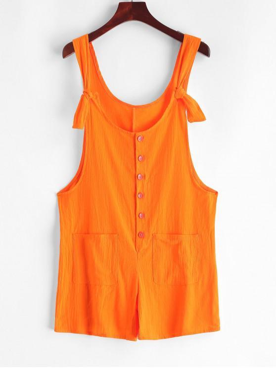 Cuello redondo con botones bolsillos Mameluco sólido - Naranja de Calabaza  L
