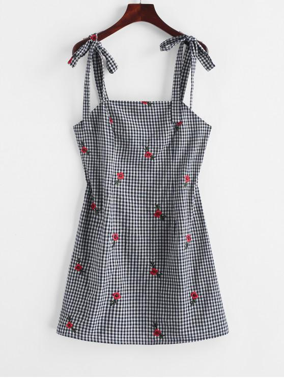ladies ZAFUL Tied Straps Floral Embroidered Gingham Mini Dress - DEEP BLUE L
