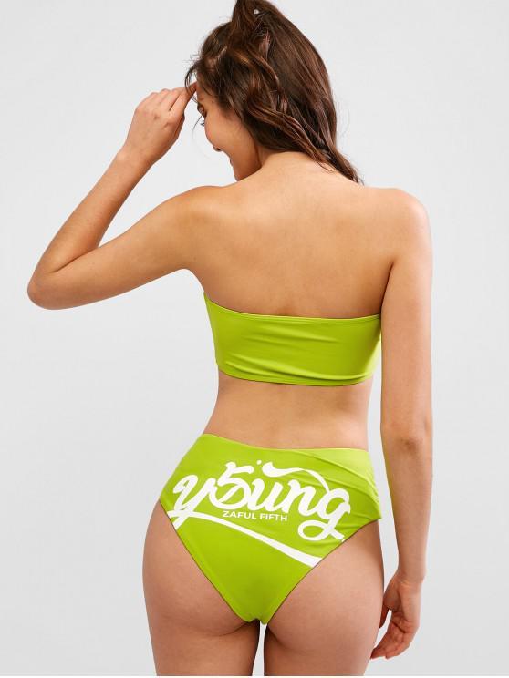 outfit ZAFUL Graphic High Leg Bandeau Bikini Swimsuit - GREEN YELLOW M