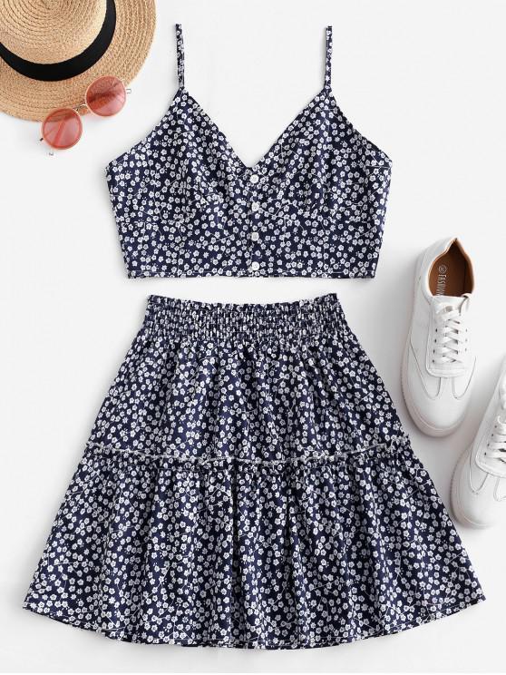 womens Floral Print Buttoned A Line Skirt Set - DEEP BLUE M