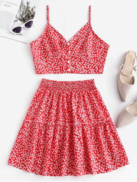 sale Floral Print Buttoned A Line Skirt Set - RED S