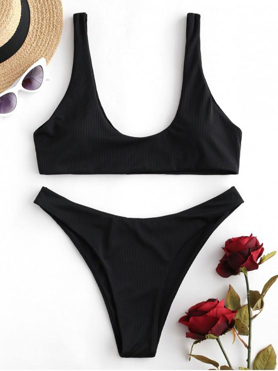 outfits ZAFUL Ribbed High Leg Tank Bikini Swimsuit - BLACK M