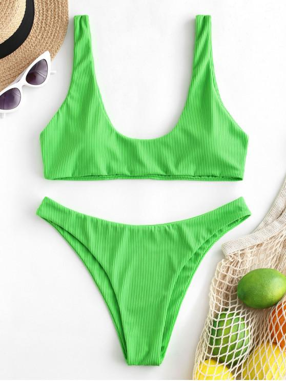 affordable ZAFUL Ribbed High Leg Tank Bikini Swimsuit - YELLOW GREEN M
