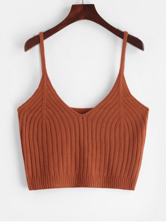 new V-cut Knit Cami Top - LIGHT BROWN L