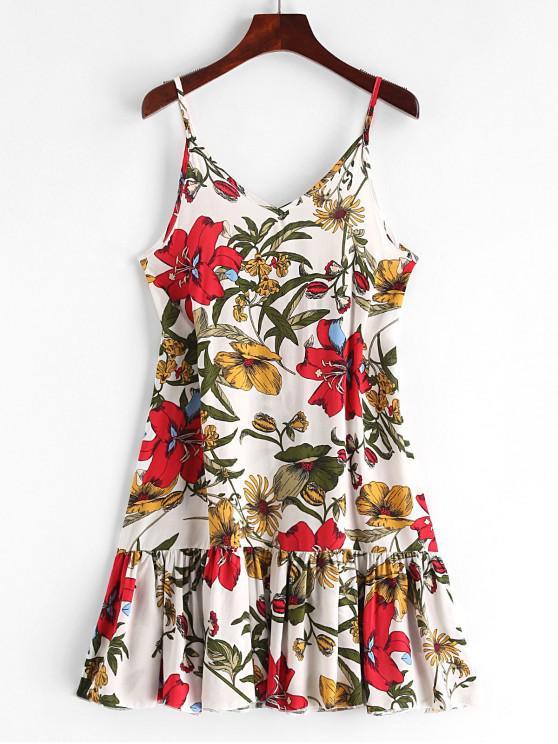 affordable Floral Print Ruffles Mini Cami Dress - WHITE S