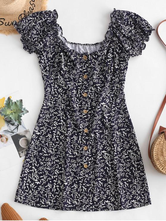 chic Leaves Print Button Up Mini Dress - BLUE M