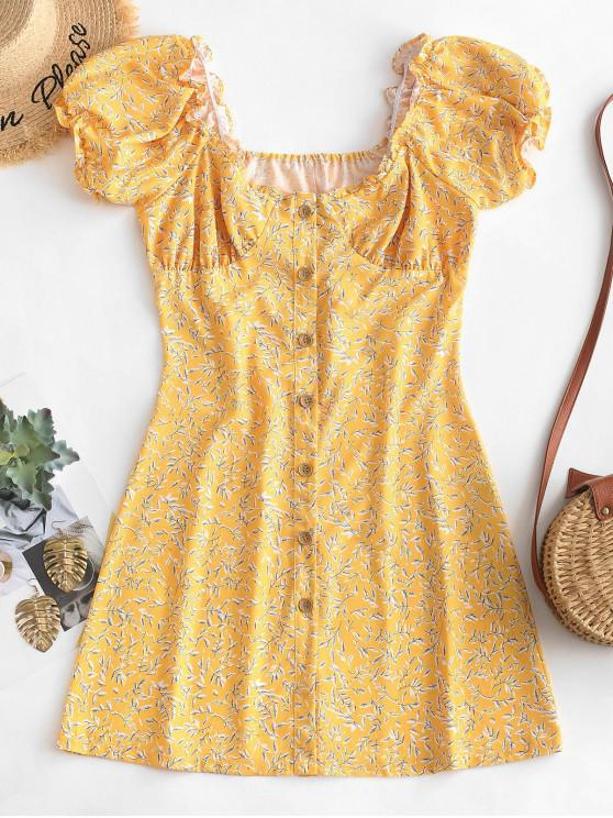 women's Leaves Print Button Up Mini Dress - YELLOW L