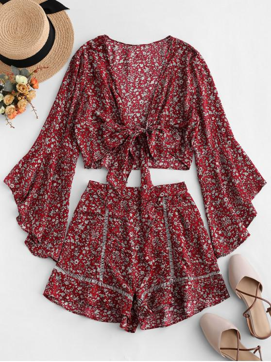 shop Flare Sleeve Knotted Floral Blouse and Flounce Shorts Set - RED WINE M